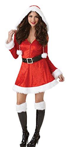 rnevals Komplett Kostüm Miss Santa Claus, Weihnachtsfrau, L, Rot ()