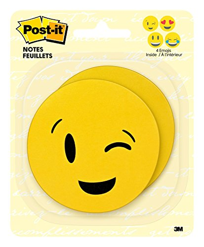 Post-It Printed Notes, 3 in x 3 in, Emoji designs, 4 alternating faces, 2 Pads/Pack, 30 Sheets/Pad 30fogli pouch autoadesiva