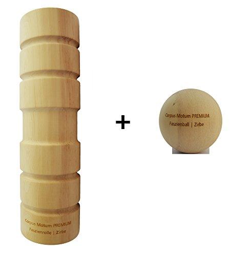 Preisvergleich Produktbild Corpus Motum Holz-Faszienrolle Premium inkl. Faszienball / Faszienrolle hart aus Holz (Zirbe) / Ergonomisch / Professional