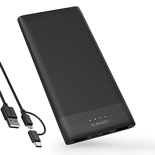 Omars Power Bank 10000mAh Portable Charger Ultra Slim Powerbank with USB-C & 2 x USB A Total Triple Output Battery Pack for iPhone X/8/8Plus,iPad,Samsung Galaxy S9/Note 8,and more Smartrtphone and Pad