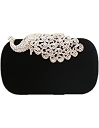HT Luxury Peacock Clutches Purse For Womens Rhinestone Clasp Velvet Cocktail Evening Handbag - Black
