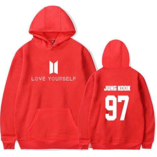 SIMYJOY Lovers Pullover BTS Felpe Hip Hop Love Yourself Felpa KPOP Felpa Top per Uomo Donna Adolescente rosso Jung Kook 97