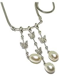 7905d4519d54 Never Say Never Precioso Collar de Perlas y 0.11cts de Diamantes en Oro  Blanco de 18k con Cadena Cola de…