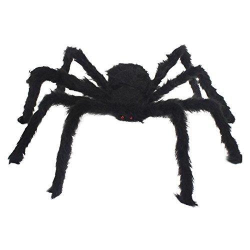 Brave Pioneer Halloween Deko Spinne Schwarz Plüsch Haarig Riesen Spinne Puppen Spielzeug Toy (schwarz)
