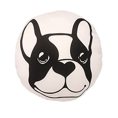 Bouledogue français Petit Coussin Rond 34cm x 34cm Noir et Blanc Dot avec Sublimation Coque (sans Sac) intérieure Home Decor