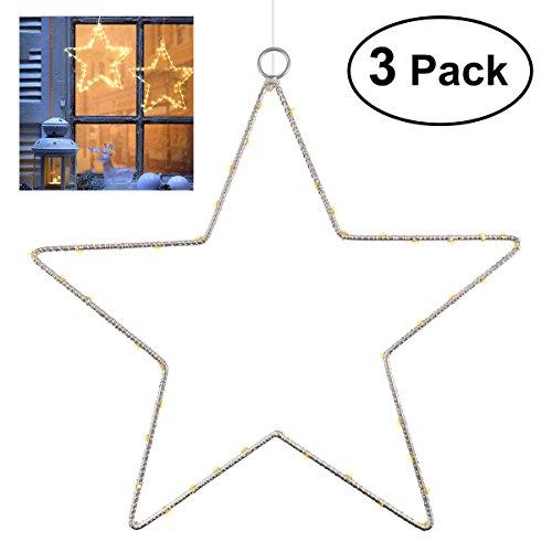 3 Stück Weihnachtsstern Beleuchtung YUNLIGHTS Fenster Stern Licht 45 LED Lichterkette Außen Wasserdicht, Batterie Angetrieben mit Timer für Zuhause, Neujahr, Hochzeit, Urlaub, Party, Warmes Weiß