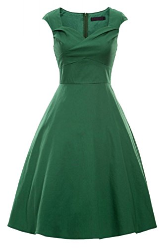 iLover Rockabilly évasé robes d'Audrey style rétro Prom Soirée cocktail millésime 1950 green