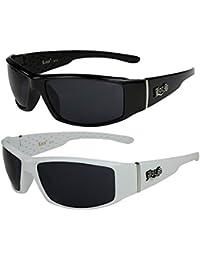 2er Pack Locs 9078 Sonnenbrillen Motorradbrille Sportbrille Radbrille in den Farben schwarz und weiß