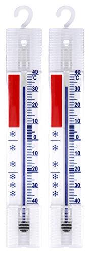 Lantelme 2 Stück Set Kühlschrank Thermometer Analog Haken Gefrierschrank Eisschrank Kühl Temperaturanzige + / - 40 °C