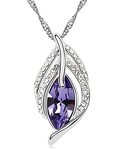 Wonvin Collier Femmes Pendentif Améthyste Pendentif Plaqué Or Blanc Long 18 pouces Chaîne Couleur Violet pour Lady Gift Filles