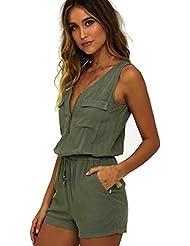 Sannysis Monos sin mangas con pantalón corto, color verde
