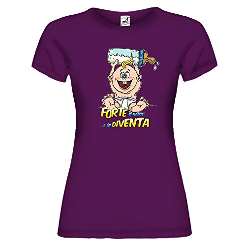 Bikerella T-Shirt Manica Corta Donna Forte Si Nasce by by PORPORA/COLOR