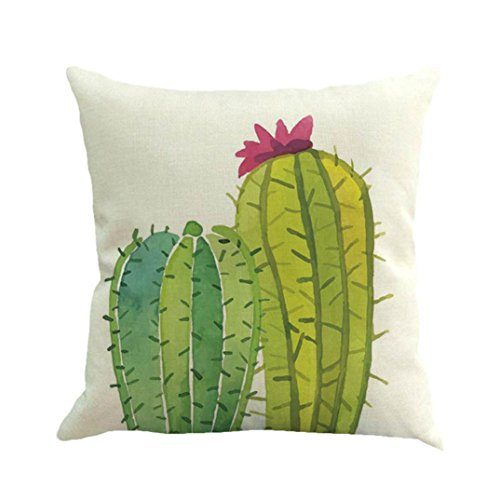 Satin-streifen-shell (ubabamama europäischen Style Home Decor 45x 45cm Baumwolle Leinen Kissenbezug Überwurf Kaktus Pflanze Kissen Fall Natur Kissenbezüge)