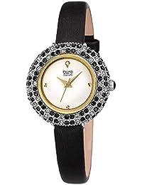 Burgi® BUR240 - Reloj de Pulsera con Correa de Piel acentuada con Cristales de Swarovski