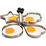 Heart's Choice Stainless Steel Fried Egg Mould, Non-Stick Egg Rings Cooking Egg Fried Pancake Omelets Mold Rings Kitchen Cooking Tools Small Utensil, Stainless Steel Egg Form for Frying Cooking, Set of 4