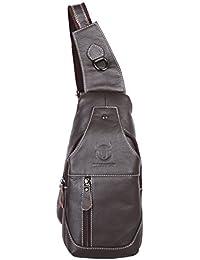 BULLCAPTAIN Leathario bolso mochila de pecho piel cuero para hombres con cuero compuesto para diario o trabajo.