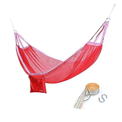Licxcx Hängematte Outdoor-EIS-Seide-Bildschirm einzigen Doppel-Schlafsaal innen atmungsaktive Hängematte, rot + geflochtener Gurt -