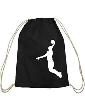 Shirtstreet24, BASKETBALL PLAYER, NBA Sport Baumwoll natur Turnbeutel Rucksack Sport Beutel