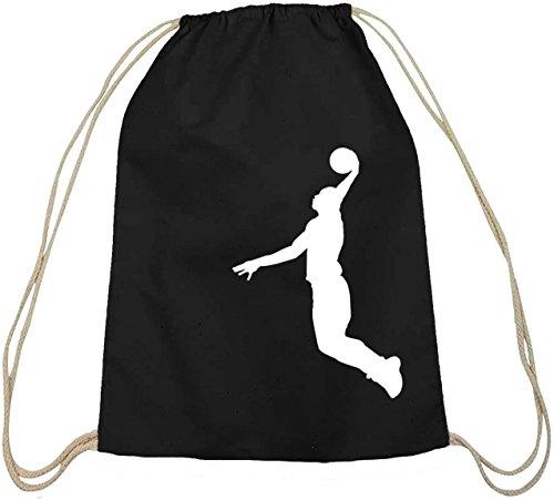 Shirtstreet24, BASKETBALL PLAYER, NBA Sport Baumwoll natur Turnbeutel Rucksack Sport Beutel schwarz natur