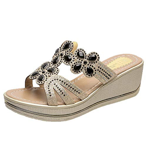 UOWEG Wedges Sandalen für Damen Böhmen Crystal Wedges Thick Peep Toe atmungsaktive Sandalen Hausschuhe Schuhe Patent Sling Strap Peep Toe