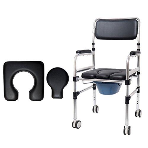 Commode de Personnes âgées en Mouvement siège de Toilette des Femmes Enceintes Fauteuil de Chaise Pliable désactivé Chaise de Bain avec Roues