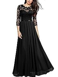 MIUSOL Damen Elegant Halbarm Rundhals Vintage Spitzenkleid Hochzeit Chiffon Faltenrock Langes Kleid Schwarz 2XL