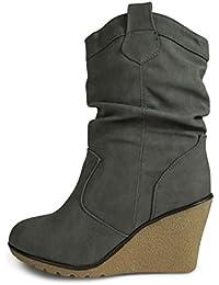 de9c35372f15 Damen Stiefel Leicht gefüttert Stiefeletten Keilabsatz Boots ST188  Schlupfstiefel High…