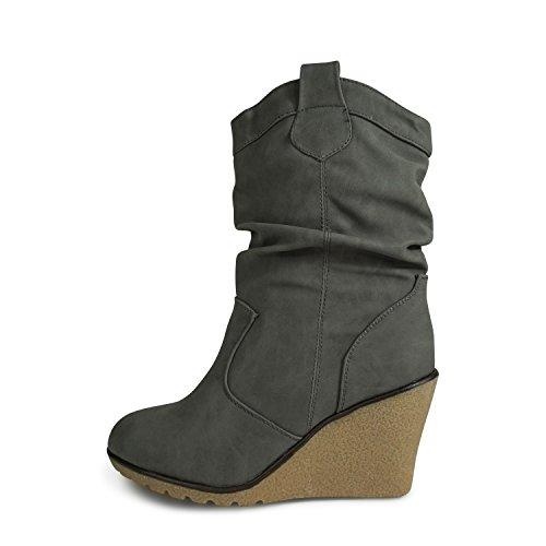 Damen Stiefel Leicht gefüttert Stiefeletten Keilabsatz Boots ST188 Schlupfstiefel High Heels (36, Grau Matt)