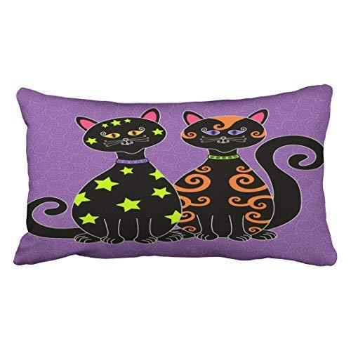ical Black Cats Halloween Throw Pillow Covers Cushion Cover Case 20X30 Inches Pillowcases Two Side ()
