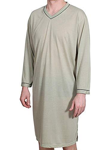 Uomo camicia da notte lungo tinta unita pigiama vestaglia da notte biancheria da notte cotone dimensione: l xl xxl xxxl - verde, l / 48 - 50