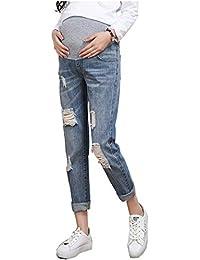 5120e64b4cacc Primavera Estate Jeans Strappati Elasticizzati Donna Pantaloni Premaman  Regolabili Jeans Denim Premaman Pantaloni da Leggings Premaman