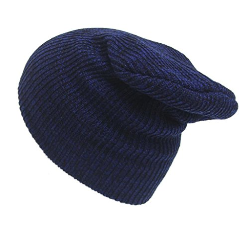 Tongshi Unisex de la manera del casquillo del invierno caliente del tocado de punto de ganchillo sombrero del esquí trenzado turbante (Armada)