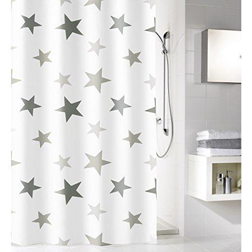 Meusch 2701977305 Duschvorhang Stars, 180 x 200 cm, Platin (Mit Duschvorhang Sternen)