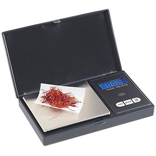 VonShef Bilancia digitale portatile tascabile, capacità 100g e schermo LCD retroilluminato-Nero/Acciaio inossidabile