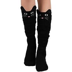 Sannysis Calcetines Largos para Mujer Calcetines Running Gato (01)