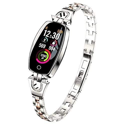 Yangyme Luxusuhr Intelligentes weibliches Armband Miles-Activity Tracker Uhr mit Herzfrequenzmesser Kalorienzähler mit Tiefe wasserdicht (Color : Silver) (Mile Tracker-armband)