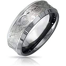 Bling Jewelry Bling joyería celta Dragon Unisex Anillo de Bodas de tungsteno de 8mm