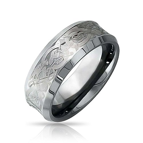 Bling Jewelry Dragon celtique à large bande pour Design Mens Womens Confort anneau de mariage de tungstène Poli 8mm