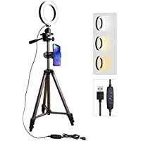 Luce ad Anello, treppiede per cellulare Ring Light - Tryone Live Stream Stand treppiede con 6 pollici dimmerabile LED Ring Light per YouTube Tiktok Vine Selfie o Makeup