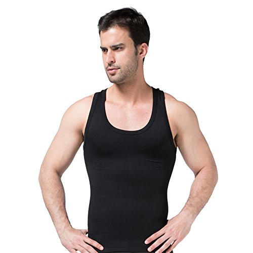BaronHong Compressione Comodo Mens Body Shaper Quick Secco I-Shaped Gym Vest Nero