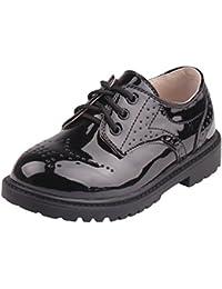 Y-BOA Chaussures Similicuir Vernis Enfant Garçon Gentleman Chaussures Ville Lacets Style Anglais