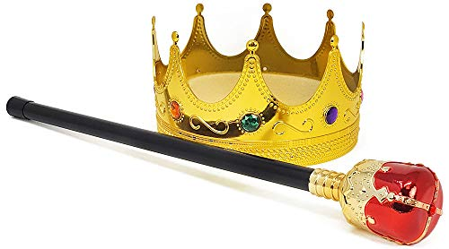 com-four® royales Set mit Zepter und Krone für König und Königinnen Kostüm für Fasching, Karneval und Halloween (Krone & Zepter - 2-teilig)