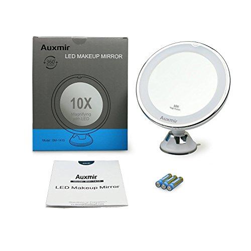 Auxent Kosmetikspiegel LED Beleuchtet mit 10x Vergrößerung und Saugnapf, 360° Schwenkbar, Make-Up-Spiegel Schminkspiegel mit Blendfreier Beleuchtung für Zuhause und Unterwegs - 9