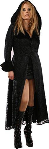 MyGothicShop Gótico Outwear Casual Abrigo Largo de Fiesta con Capucha pequeño Negro