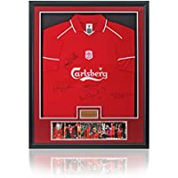 Gerrard, McAllister, Hamann, Molby y Ruddock firmada a mano Liverpool FC camiseta enmarcada
