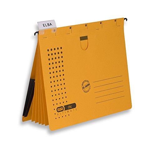ELBA 100333015 Organisationshefter chic ULTIMATE 5er Pack 5 Trennblätter und 5 kaufmännische Heftungen mit Dehntasche gelb