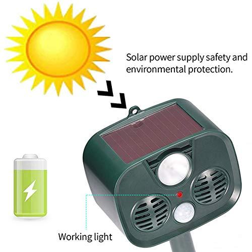 ner Tiervertreiber Wasserdichter PIR-Sensor Garten im Freien Anti-Katzen-Hund USB Ultraschall Solar Alarm Drive Repeller ()