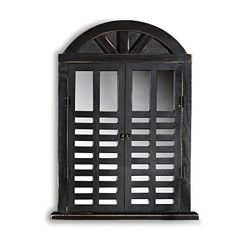 Melko Wandspiegel mit Fensterladen und Ablage, Shabby Chic Style, Country Look, als Fenster, Deko, 64x42x6cm, schwarz