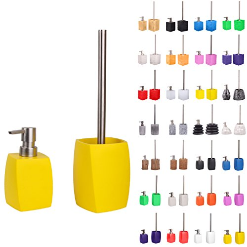 Premium Bathroom Set | Great Range | Soap Dispenser and Toilet Brush | Beautiful designs surface (Wave Yellow Set)