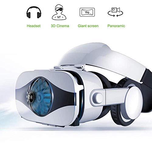 Virtual Reality Headset, VR 3D-Brille mit HiFi Shock-Kopfhörern und integriertem 360-Grad-Panorama-100-Grad-FOV-Mini-Lüfter für effiziente Kühlung